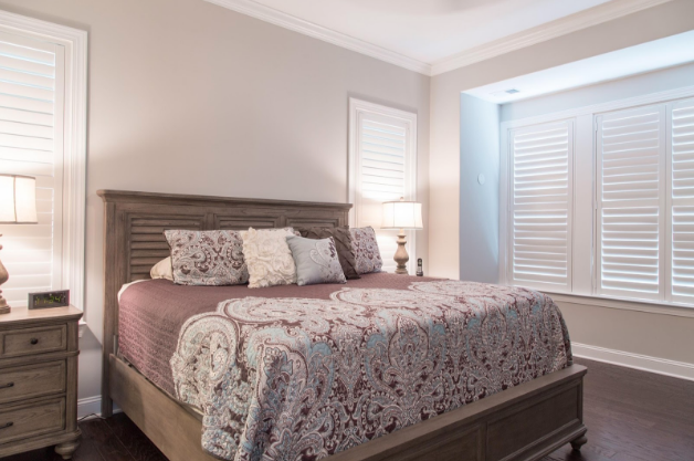 Indianapolis bedroom with light block shutters